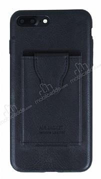 Dafoni Air Jacket iPhone 7 Plus / 8 Plus Cüzdanlı Siyah Deri Kılıf