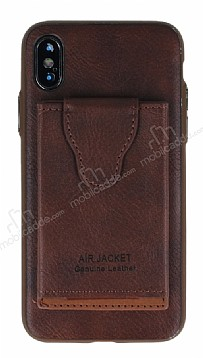 Dafoni Air Jacket iPhone X / XS Cüzdanlı Kahverengi Deri Kılıf