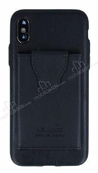 Dafoni Air Jacket iPhone X Cüzdanlı Siyah Deri Kılıf