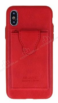 Dafoni Air Jacket iPhone X / XS Cüzdanlı Kırmızı Deri Kılıf