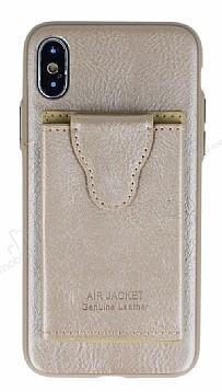 Dafoni Air Jacket iPhone X Cüzdanlı Gold Deri Kılıf
