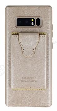 Dafoni Air Jacket Samsung Galaxy Note 8 Cüzdanlı Gold Deri Kılıf