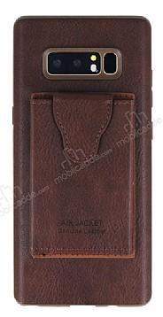 Dafoni Air Jacket Samsung Galaxy Note 8 Cüzdanlı Kahverengi Deri Kılıf