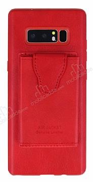 Dafoni Air Jacket Samsung Galaxy Note 8 Cüzdanlı Kırmızı Deri Kılıf