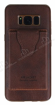 Dafoni Air Jacket Samsung Galaxy S8 Cüzdanlı Kahverengi Deri Kılıf