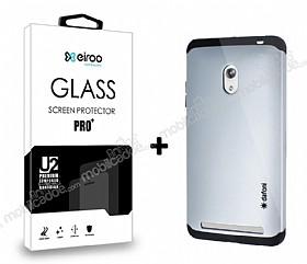 Dafoni Asus Zenfone 6 Silver Kılıf ve Eiroo Cam Ekran Koruyucu Seti