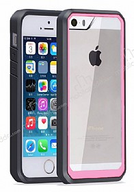 Dafoni Color Side iPhone SE / 5 / 5S Kristal Pembe Kılıf