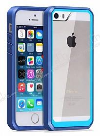 Dafoni Color Side iPhone SE / 5 / 5S Kristal Mavi Kılıf