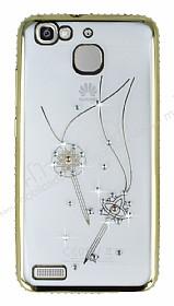 Dafoni Crystal Dream Huawei GR3 Taşlı Anahtarlık Gold Kenarlı Silikon Kılıf