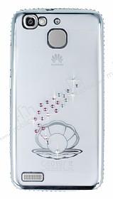 Dafoni Crystal Dream Huawei GR3 Taşlı İnci Silver Kenarlı Silikon Kılıf