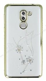 Dafoni Crystal Dream Huawei GR5 2017 Taşlı Anahtar Gold Kenarlı Silikon Kılıf