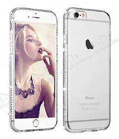 Dafoni Crystal Dream iPhone 6 / 6S Taşlı Şeffaf Silikon Kılıf