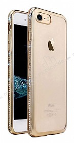 Dafoni Crystal Dream iPhone 7 Taşlı Gold Silikon Kılıf