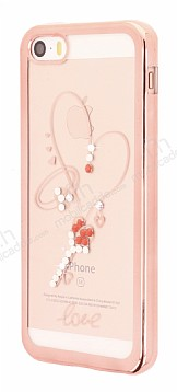 Dafoni Crystal Dream iPhone SE / 5 / 5S Taşlı Necklace Şeffaf Silikon Kılıf
