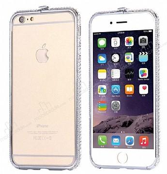 Dafoni Crystal Dream iPhone 6 / 6S Metal Taşlı Bumper Çerçeve Silver Kılıf