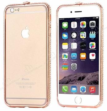 Dafoni Crystal Dream iPhone 6 / 6S Metal Taşlı Bumper Çerçeve Rose Gold Kılıf