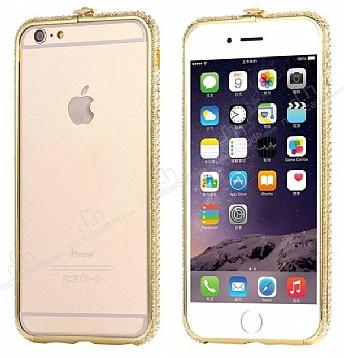 Dafoni Crystal Dream iPhone 6 / 6S Metal Taşlı Bumper Çerçeve Gold Kılıf