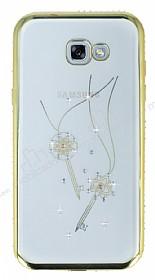 Dafoni Crystal Dream Samsung Galaxy A7 2017 Taşlı Anahtar Gold Kenarlı Silikon Kılıf