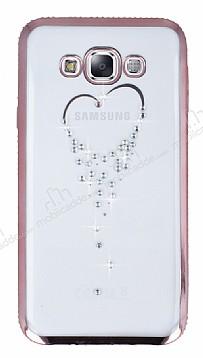 Dafoni Crystal Dream Samsung Galaxy E5 Taşlı Kalp Rose Gold Kenarlı Silikon Kılıf