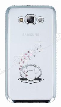 Dafoni Crystal Dream Samsung Galaxy E7 Taşlı İnci Silver Kenarlı Silikon Kılıf
