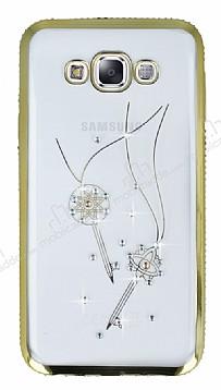 Dafoni Crystal Dream Samsung Galaxy E7 Taşlı Kenarlı Anahtar Gold Silikon Kılıf
