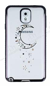 Dafoni Crystal Dream Samsung Galaxy Note 3 Taşlı Ay Siyah Kenarlı Silikon Kılıf