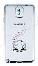 Dafoni Crystal Dream Samsung Galaxy Note 3 Taşlı İnci Silver Kenarlı Silikon Kılıf