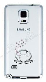 Dafoni Crystal Dream Samsung Galaxy Note 4 Taşlı İnci Silver Kenarlı Silikon Kılıf