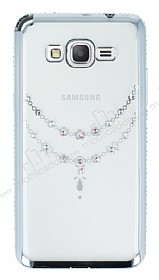 Dafoni Crystal Dream Samsung Galaxy Grand Prime / Prime Plus Taşlı Necklace Silver Kenarlı Silikon Kılıf