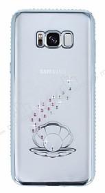Dafoni Crystal Dream Samsung Galaxy S8 Plus Taşlı İnci Silver Kenarlı Silikon Kılıf
