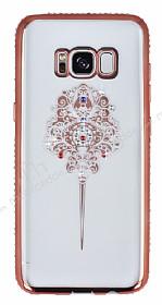 Dafoni Crystal Dream Samsung Galaxy S8 Renkli Taşlı Rose Gold Silikon Kılıf