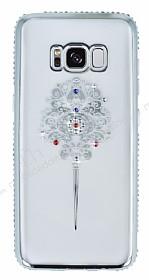Dafoni Crystal Dream Samsung Galaxy S8 Renkli Taşlı Silver Silikon Kılıf
