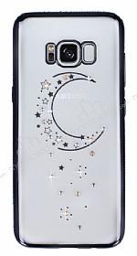 Dafoni Crystal Dream Samsung Galaxy S8 Taşlı Ay Siyah Kenarlı Silikon Kılıf