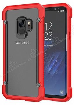 Dafoni Duro Samsung Galaxy S9 Plus Ultra Koruma Kırmızı Kenarlı Şeffaf Kılıf