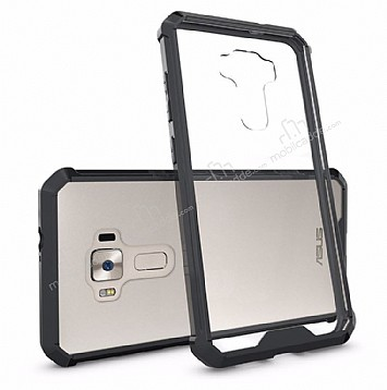 Dafoni Fit Hybrid Asus Zenfone 3 Laser ZC551KL Siyah Kenarlı Şeffaf Kılıf