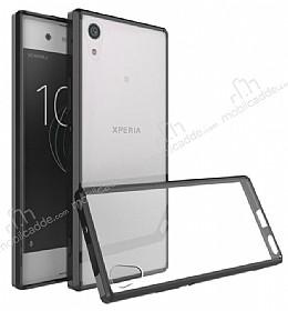 Dafoni Fit Hybrid Sony Xperia XA1 Siyah Kenarlı Şeffaf Kılıf