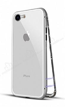 Dafoni Glass Guard iPhone 6 / 6S Metal Kenarlı 360 Derece Koruma Cam Silver Kılıf