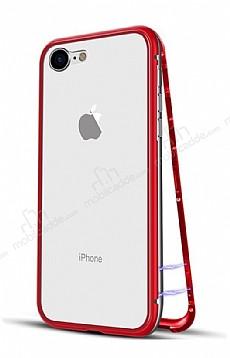 Dafoni Glass Guard iPhone 6 / 6S Metal Kenarlı 360 Derece Koruma Cam Kırmızı Kılıf