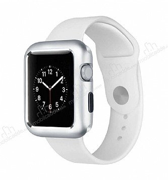 Dafoni Glass Guard Apple Watch Metal Kenarlı 360 Derece Koruma Cam Silver Kılıf 38mm