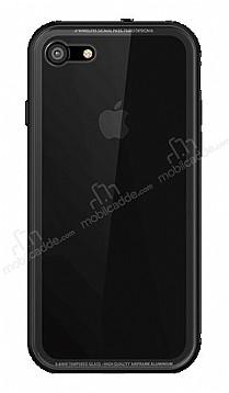 Dafoni Glass Shield iPhone 7 / 8 Siyah Silikon Kenarlı Cam Kılıf