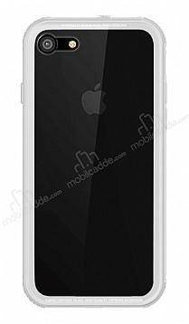 Dafoni Glass Shield iPhone 7 / 8 Beyaz Silikon Kenarlı Cam Kılıf