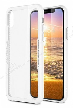 Dafoni Glass Shield iPhone X Beyaz Silikon Kenarlı Cam Kılıf