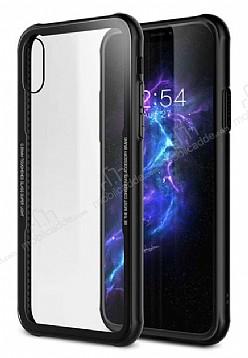 Dafoni Glass Shield iPhone X Siyah Silikon Kenarlı Cam Kılıf