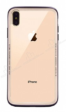 Dafoni Glass Shield iPhone XS Max Gold Silikon Kenarlı Cam Kılıf