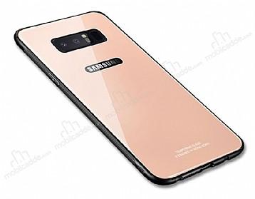 Dafoni Glass Shield Samsung Galaxy Note 8 Silikon Kenarlı Cam Gold Kılıf