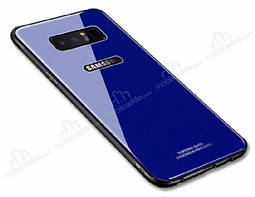Dafoni Glass Shield Samsung Galaxy Note 8 Silikon Kenarlı Cam Lacivert Kılıf