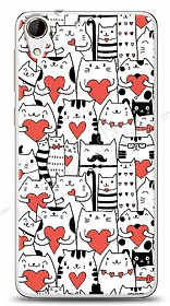 HTC Desire 728G Love Cats Kılıf