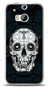 HTC One M8 Black Skull Kılıf