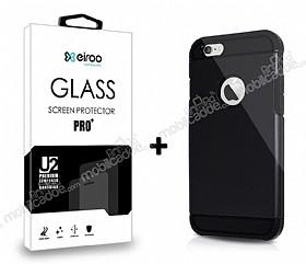 Dafoni iPhone 6 / 6S Siyah Kılıf ve Eiroo Cam Ekran Koruyucu Seti