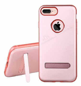 Dafoni Level Shield iPhone 7 Plus Standlı Ultra Koruma Rose Gold Kılıf